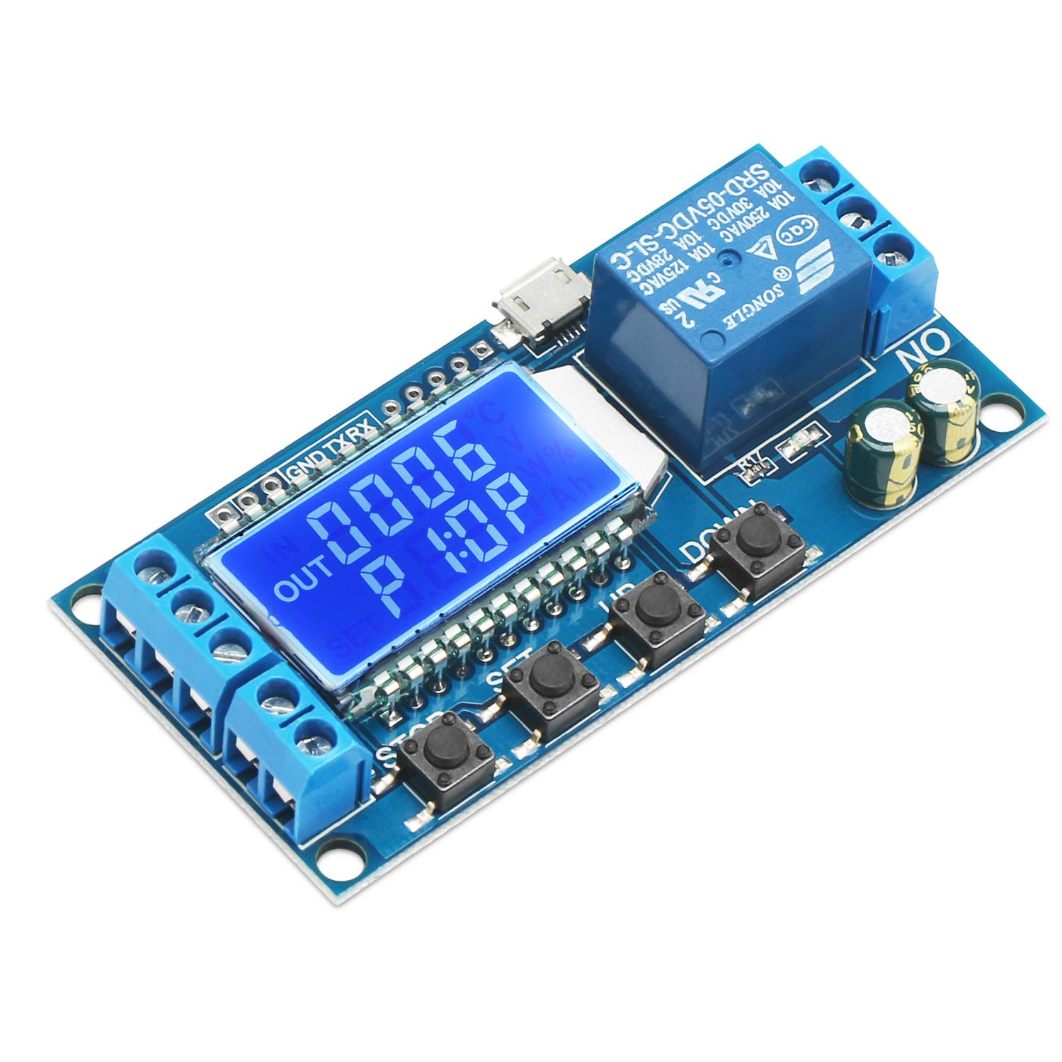 Timer Relay, DROK Time Delay Relay 5V 12V 24V Delay Controller Board Delay-off Cycle Timer 0.01s-9999mins Trigger Delay Switching Relay Module with LCD Display Support Micro USB 5V Power Supply by DROK