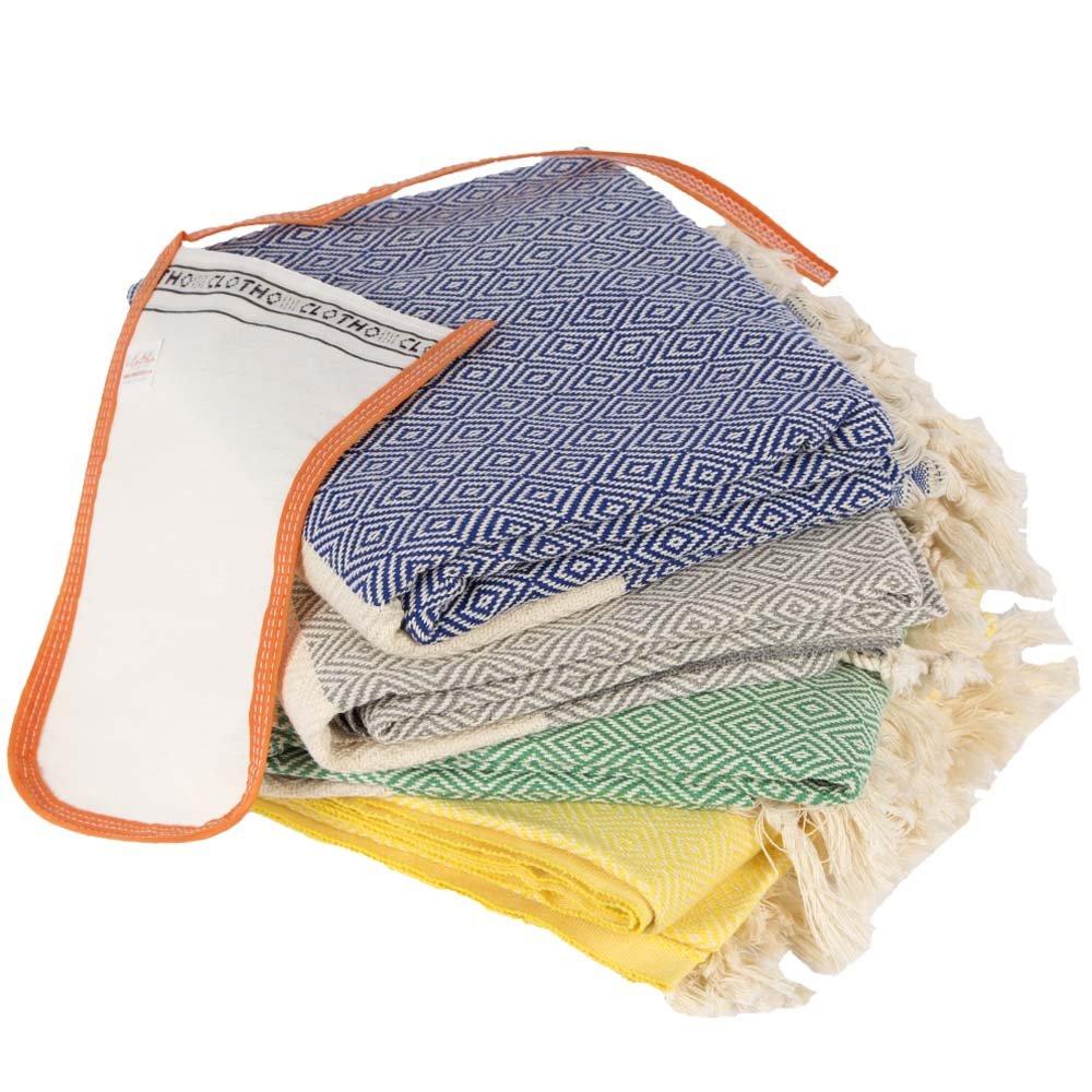 Turkish Towel Set of 4 Diamond Peshtemal Bath and Beach Towel%100 Cotton (Pack of 4, Variety)