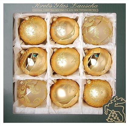 Lauschaer Weihnachtskugeln.Original Lauschaer Christbaumschmuck 9er Set Kugeln Handdekoriert Gold 10 Cm Mit Goldenem Krönchen 50 Schnellaufhänger In Gold Gratis Zu