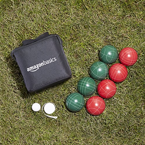 AmazonBasics Bocce Ball Set with Soft Carrying Case - 90mm
