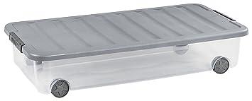 code promo cf446 67f0d ALLIBERT 224070 Boîte de Rangement Dessous de Lit avec Couvercle,  Plastique, Transparent/Gris, 79 x 39 x 16 cm