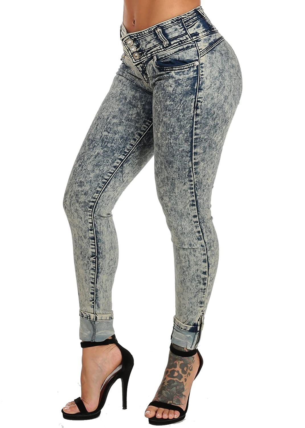Erotic Touch Low Rise Vintage Acid Wash Butt Lift Ankle Jeans 11036M