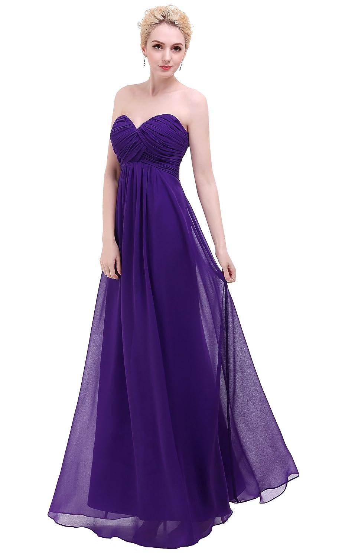 2999f4f36d9d Esvor Sweetheart Bridesmaid Chiffon Prom Dress Long Evening Gown Dark  Purple 10 at Amazon Women's Clothing store: