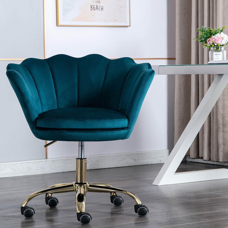 Modern Swivel Desk Chair Accent Velvet Office Chair, Adjustable Armchair  Single Sofa with 30 Degree Castor Wheels (Teal)
