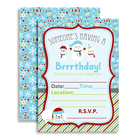 Image Unavailable Not Available For Color Brrrthday Winter Friends Birthday Party Invitations