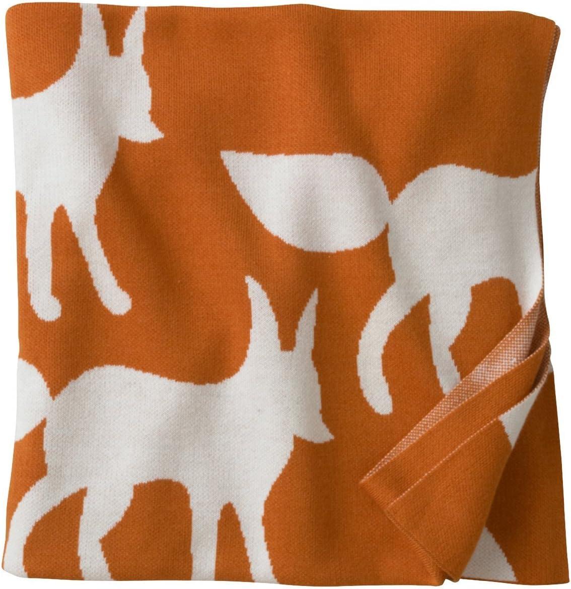 Orange Dwell Studio Foxes Graphic Knit Blanket