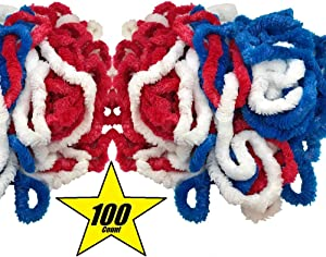 100 Pack Patriotic Leis Red White and Blue Party Leis for 4th of July, Picnic, Parade, Veterans day, Memorial Day, labor day, BBQ Parties