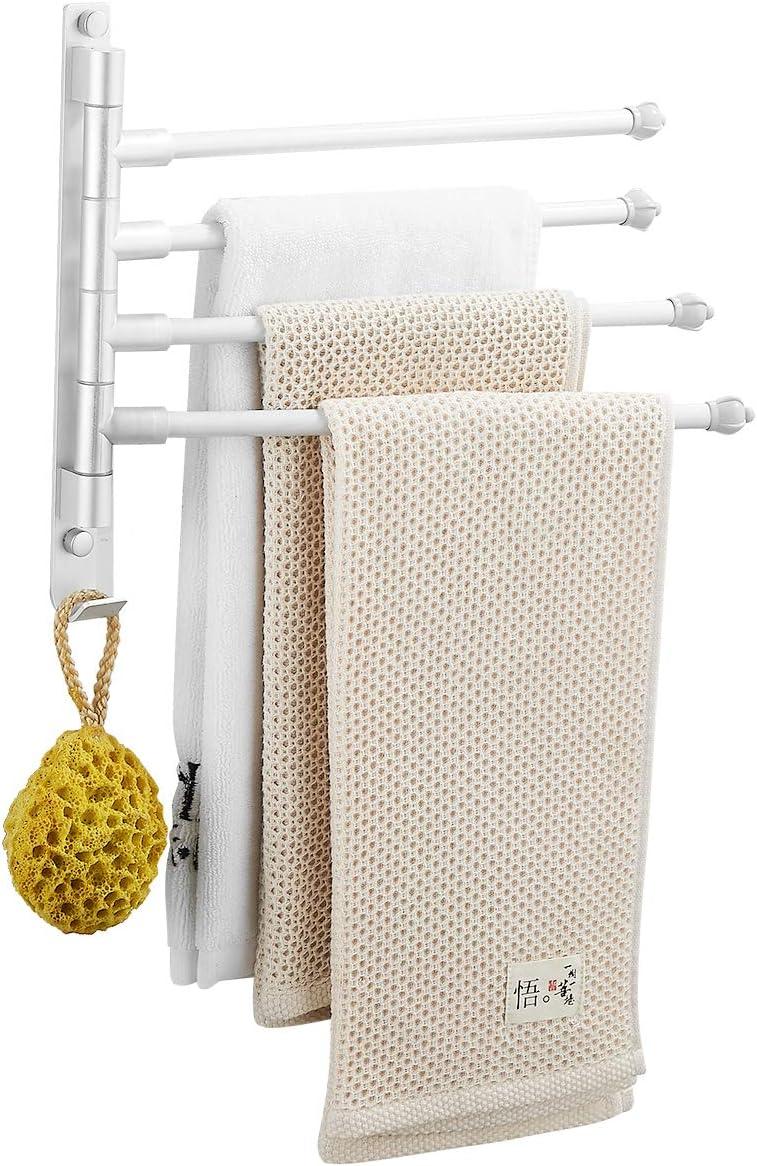 Silber Handtuchstange 2 Arme Handtuchhalter ohne Bohren Badetuchhalter Aluminium Wandmontage 180/° Wandmontage Halterung aus Aluminium f/ür Hause B/üro Shop Restaurant