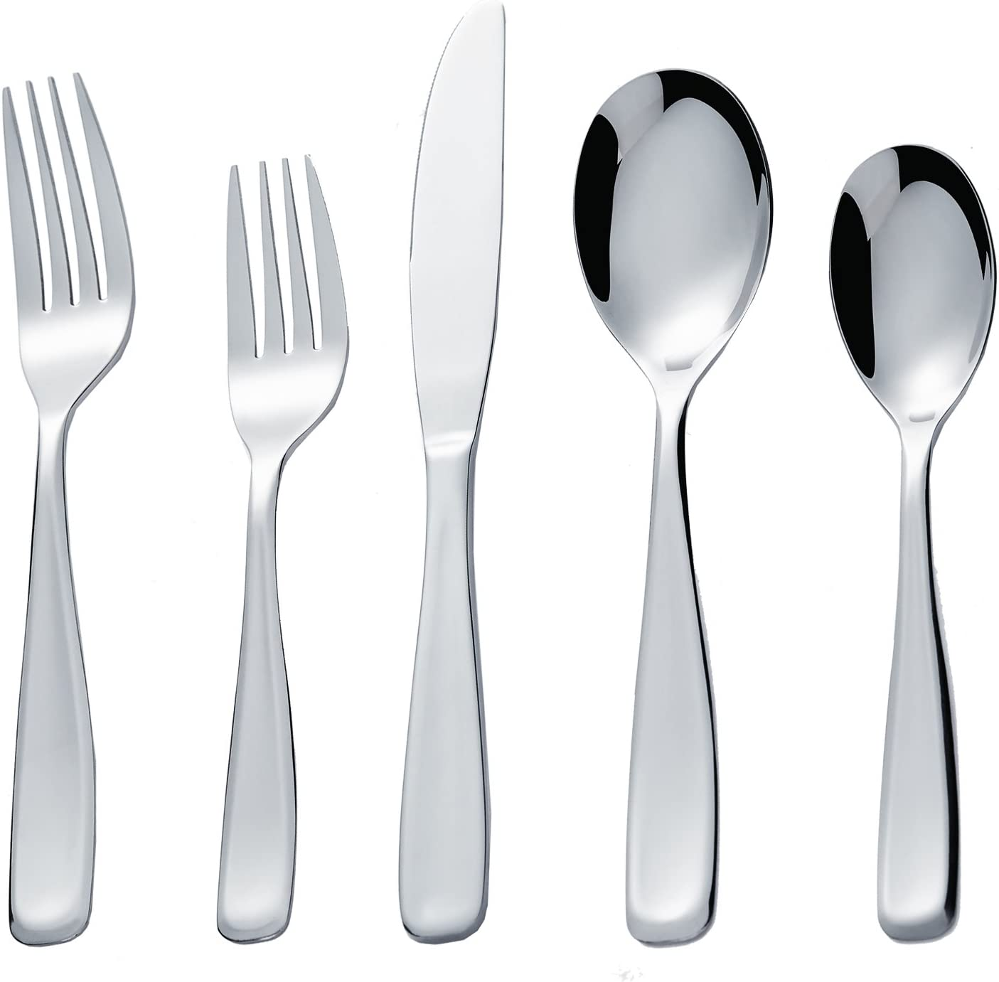 Bon Scoop 20-Piece Stainless Steel Flatware Silverware Cutlery Set, Include Knife/Fork/Spoon, Mirror Polished, Dishwasher Safe, Service for 4