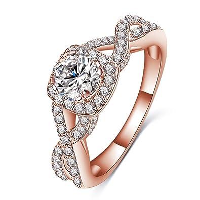 ef655c269 Amazon.com: LuckyWeng 14K Rose Gold Halo Infinity Knot Pave Small Round CZ  Diamond Twist Wedding Ring Women Size 7 8 9: Jewelry