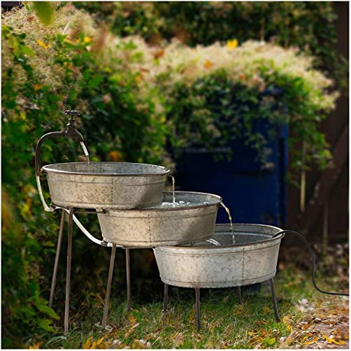 Glitzhome Metal Tiered Water Fountain with Decorative Faucet Galvanized Garden Tools Farmhouse Decor Style 2