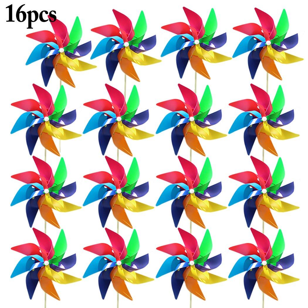 Funpa 16PCS Kids Wind Spinner Colorful Pinwheel DIY Windmill Outdoor Indoor Decor Pinwheel (S)