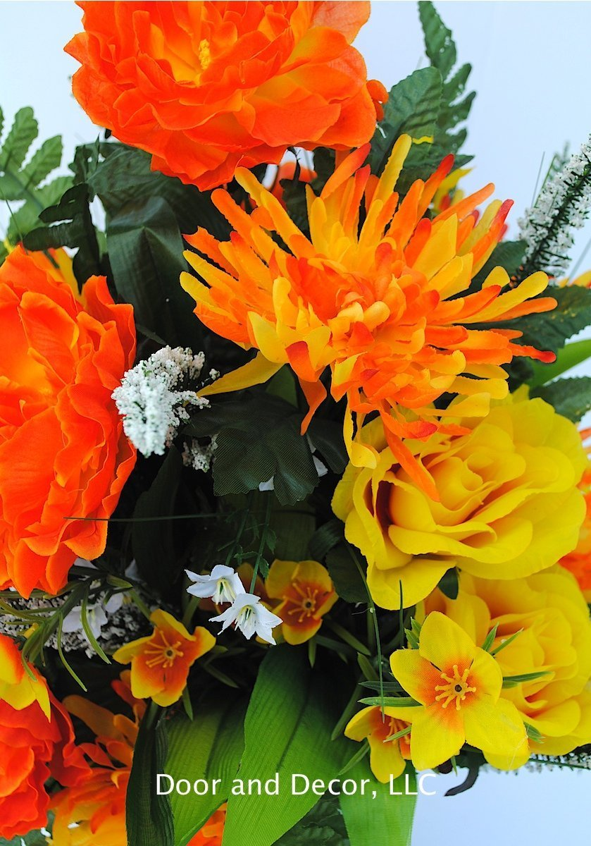 Fall-Cemetery-Headstone-Flowers-with-Peonies-Mums-Yellow-Roses-and-Ferns-with-Mixed-Greenery