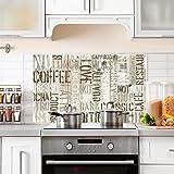 PR00011 Paraschizzi stampato su vetro acrilico per cucina Stickers design - Paraschizzi Milk and coffee - 100x60 cm