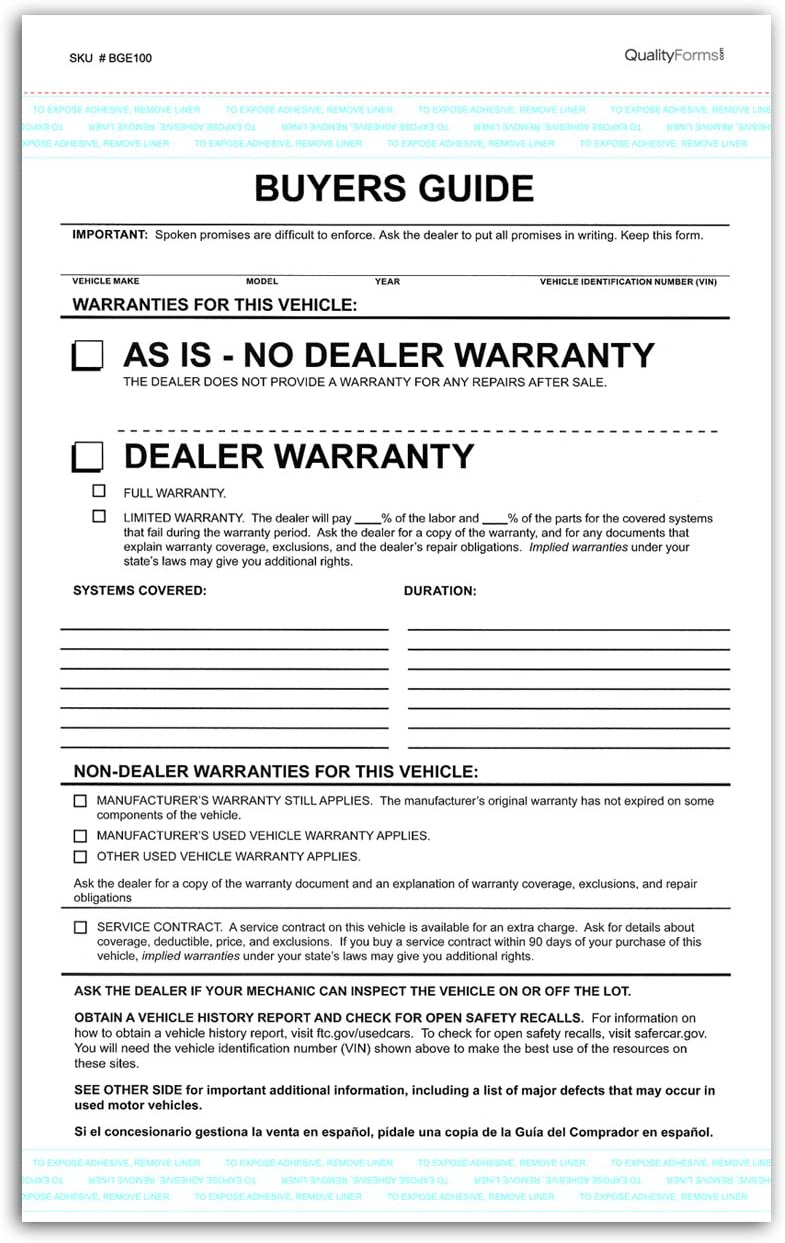 2 Part Dealer Buyers Guide Form, English Format - As is - No Dealer Warranty/Dealer Warranty (100)