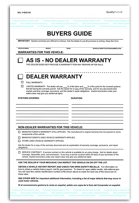 2 Part Dealer Buyers Guide Form, English Format - As Is - No Dealer  Warranty / Dealer Warranty (100)