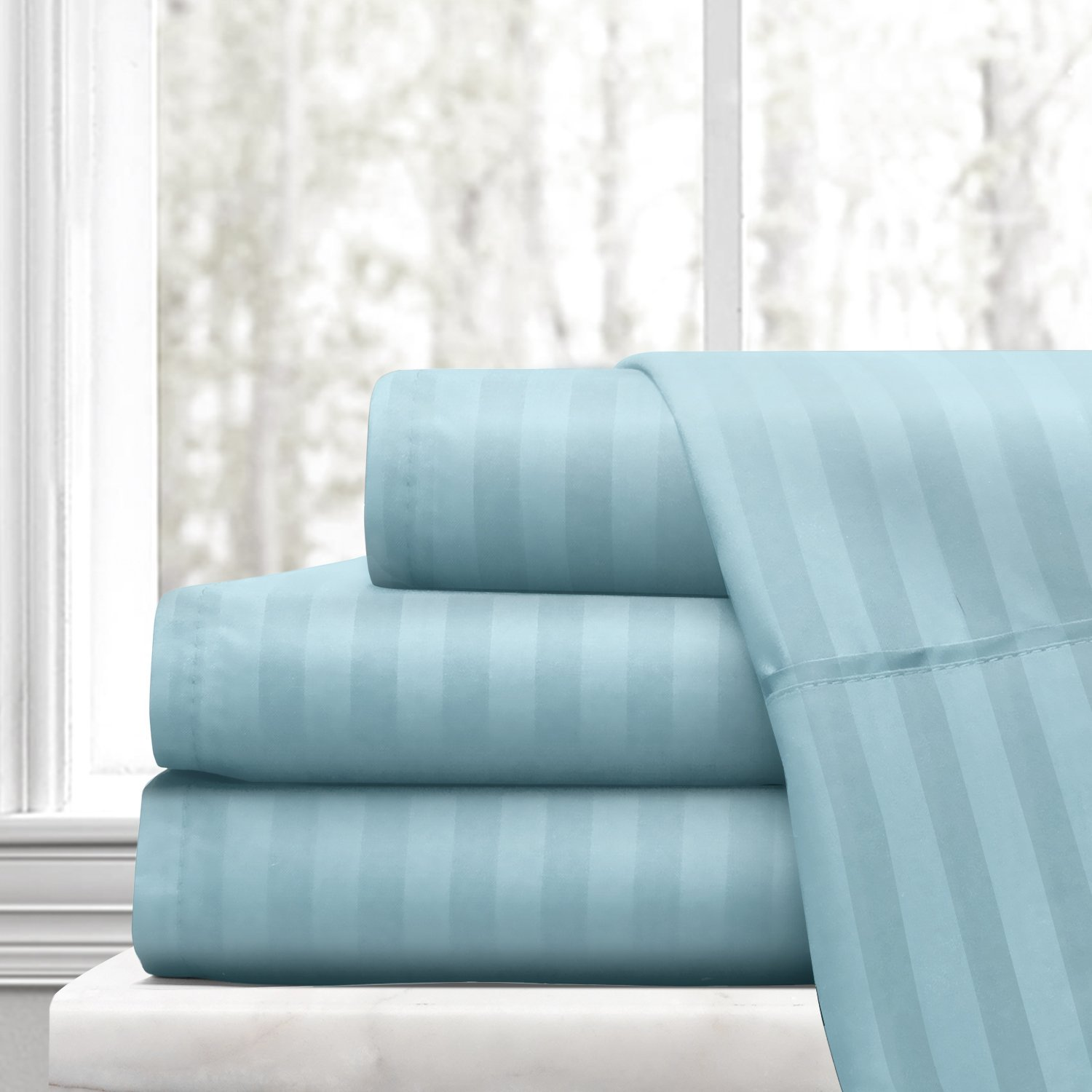 Beckham Hotel Collection Luxury Soft Brushed Microfiber 4-Piece Striped Sheet Set - Hypoallergenic & Stain Resistant with Embossed Stripes -King - Aqua