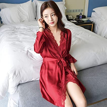 Soft Women Dress Gown Sets Batas De Seda Bathrobe Woman Silk Bathrobe Dressing at Amazon Womens Clothing store: