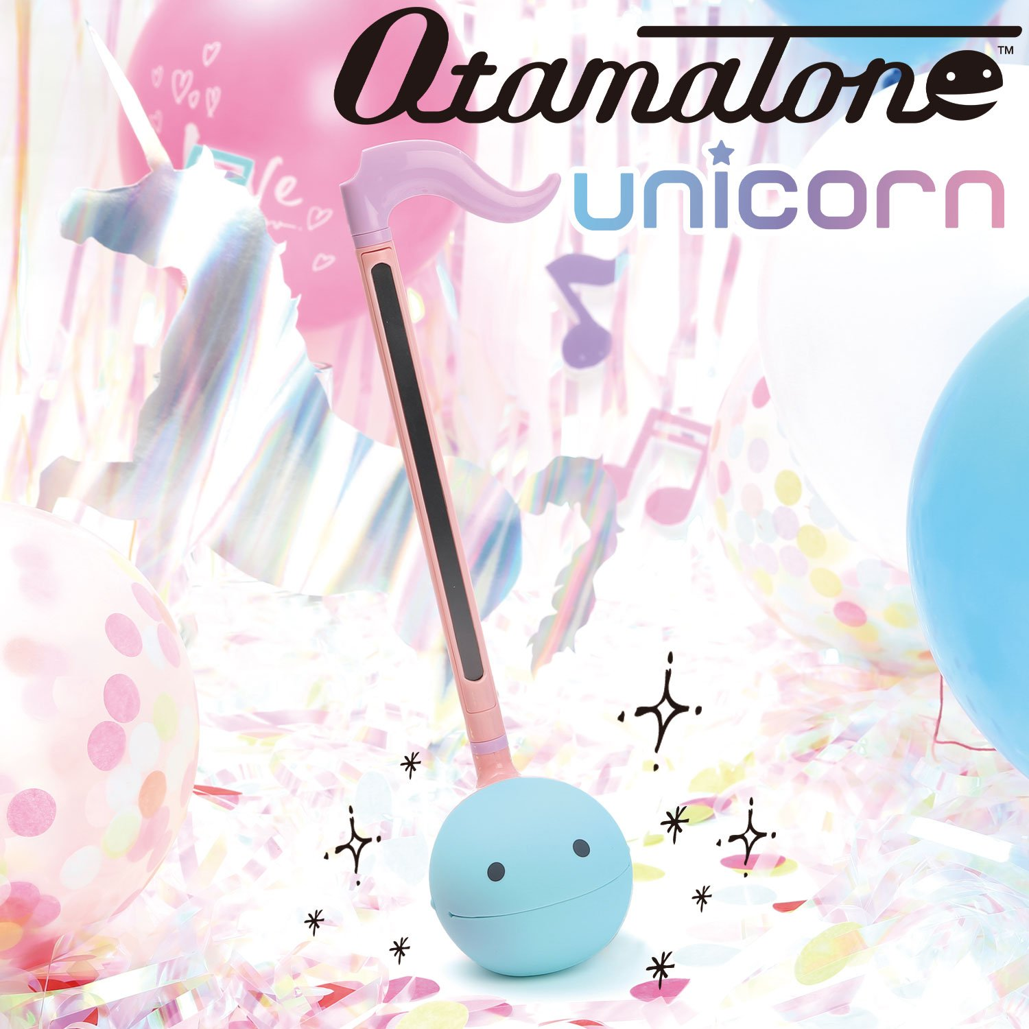 Otamatone [Special Color Edition] ''Unicorn'' [English Manual] Japanese Electronic Musical Instrument Portable Synthesizer from Japan by Cube / Maywa Denki, Sky Blue Face with Pink Body and Purple Tail by Otamatone (Image #3)