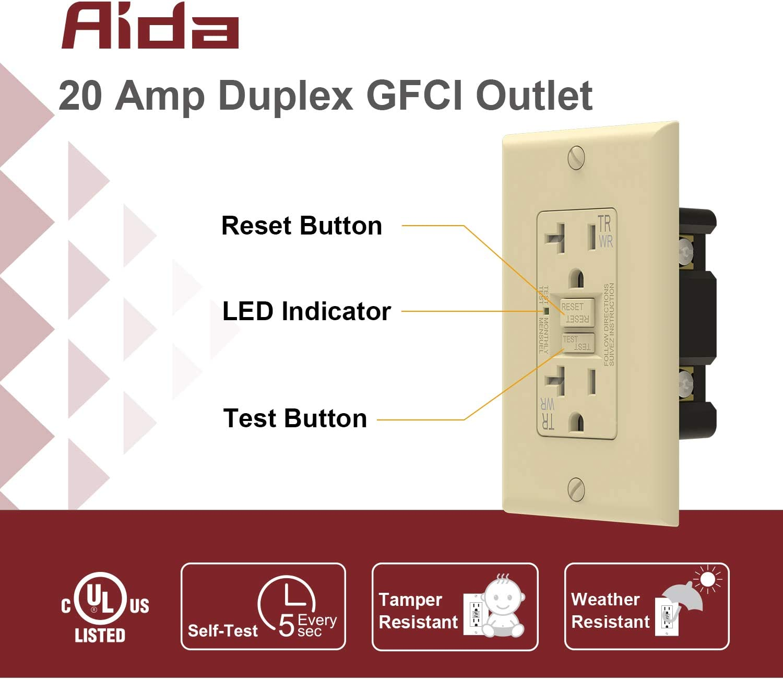 20 amp outlet diagram aida self test 20 amp inddor outdoor duplex weather   tamper  aida self test 20 amp inddor outdoor