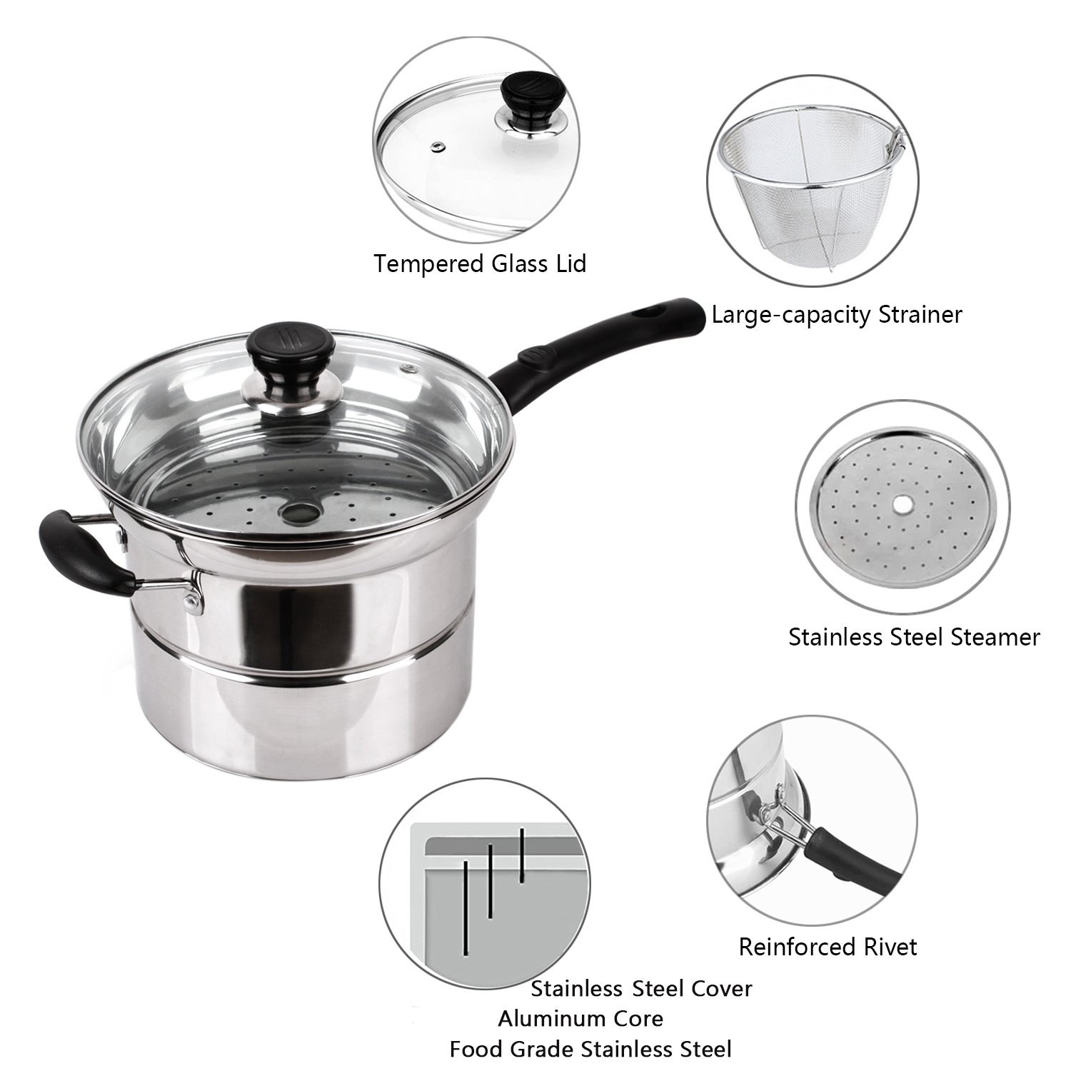 4-piece Pasta Pot Set,Sauran Stainless Steel Durable Sauce Pot with Steamer and Strainer Insert,Multi-purpose Pots with Double-bottom by Sauran (Image #5)