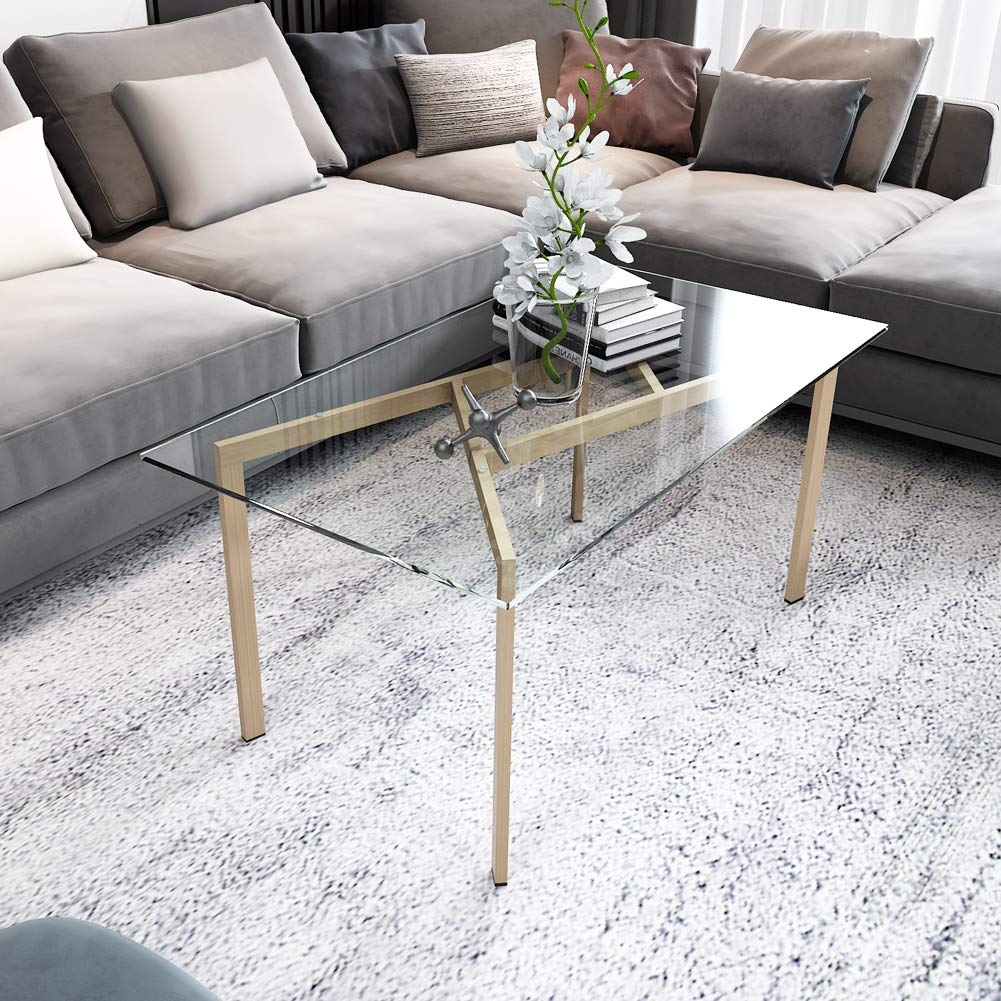 100 x 55 x 43 cm Hironpal Rectangle Glass Coffee Table Clear Sofa Side End Table with Rounded Edges Living Room Furniture Steel Legs