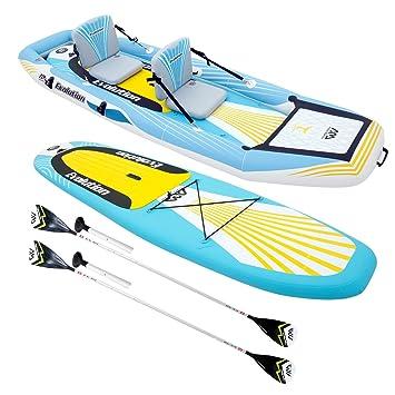 Paddle surf/kayak hinchable 2 en 1 Evolution con 2 zagual, bolsa de almacenamiento y bomba de alta presión: Amazon.es: Jardín