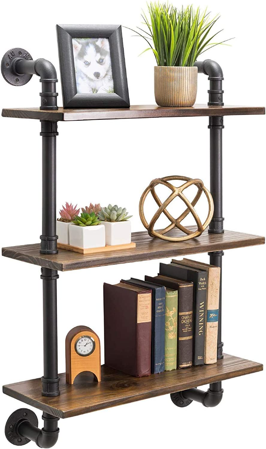 Industrial Pipe Shelves with Wood 3-Tiers, Rustic Wall Mount Shelf, Metal Hung Bracket Bookshelf, DIY Storage Shelving Floating Shelves (32 inches)