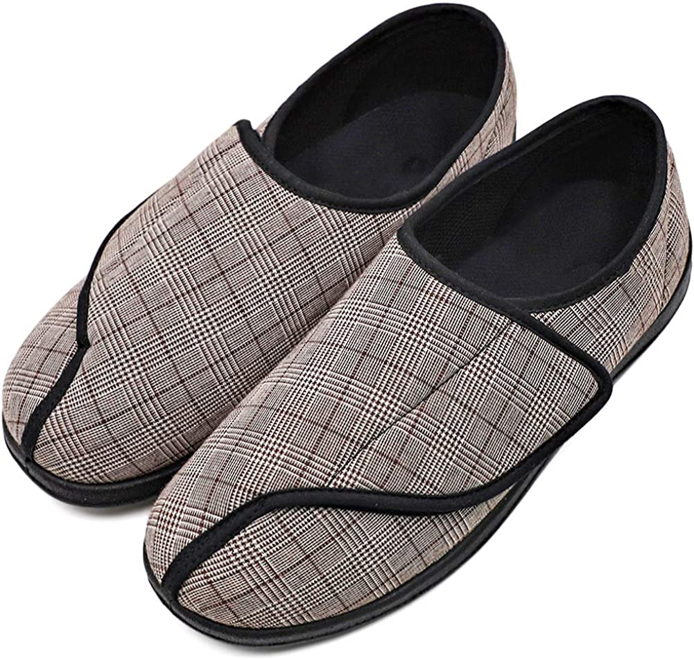MENS DIABETIC ORTHOPAEDIC EASY CLOSE STRAP WINTER WARM COSY SLIPPERS SHOES SIZE