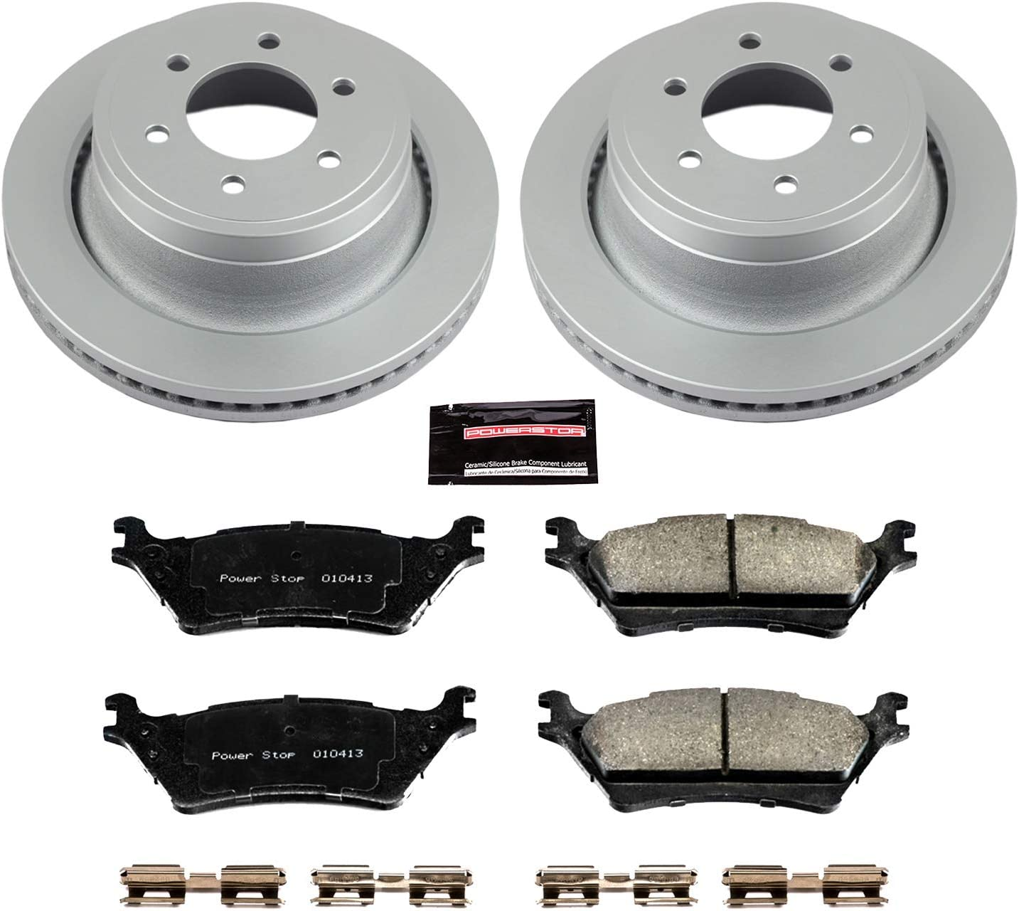 Power Stop CRK219 Coated Rotor and Ceramic Brake Pads-Rear