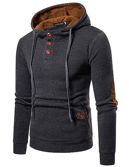 36b54632538 STTLZMC Homme Hiver Chaud Polaires Doublé Sweats à Capuche Cotton Manteaux  Doux Blousons Sweat-Shirts