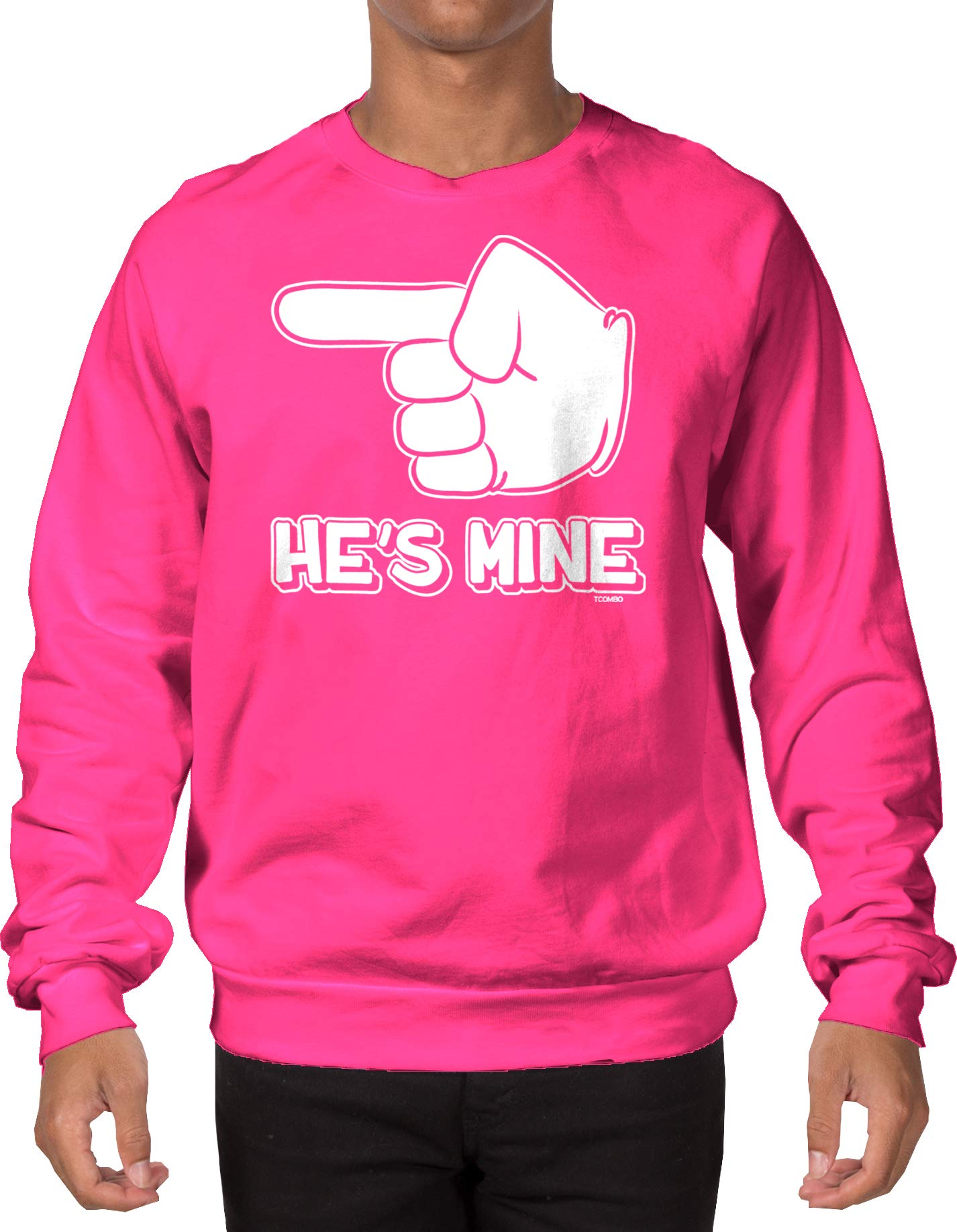 He's Mine Adult Crewneck Sweatshirt (Pink, Medium)