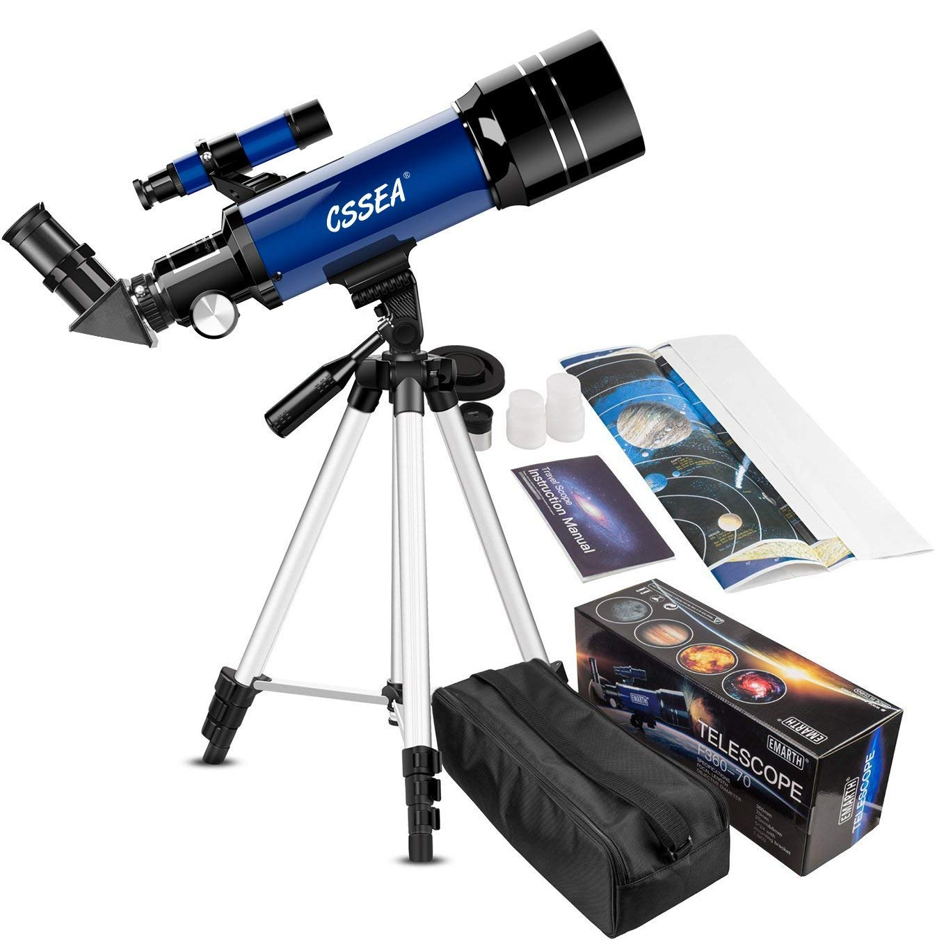 Telescope for Kids Beginners, 70mm Astronomy Refractor Telescope with Adjustable Tripod & Carry Bag- Portable Travel Scope for Adult Children by ECOOPRO