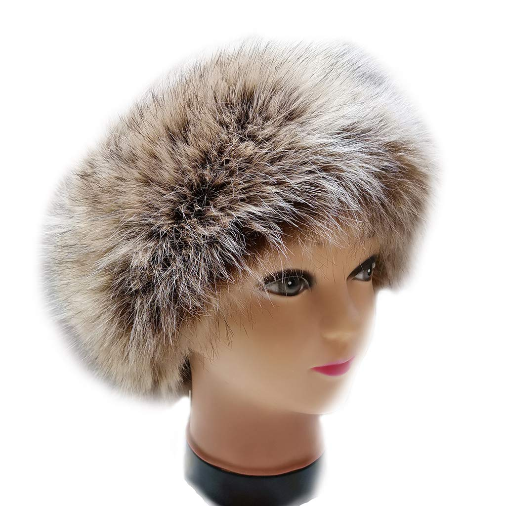 FAITH YN Faux Fur Headband with Elastic Stretch Women Fur Hat Winter Ear Warmer Earmuff Ski Cold Weather Caps [Khaki With Tips Beige and Black]