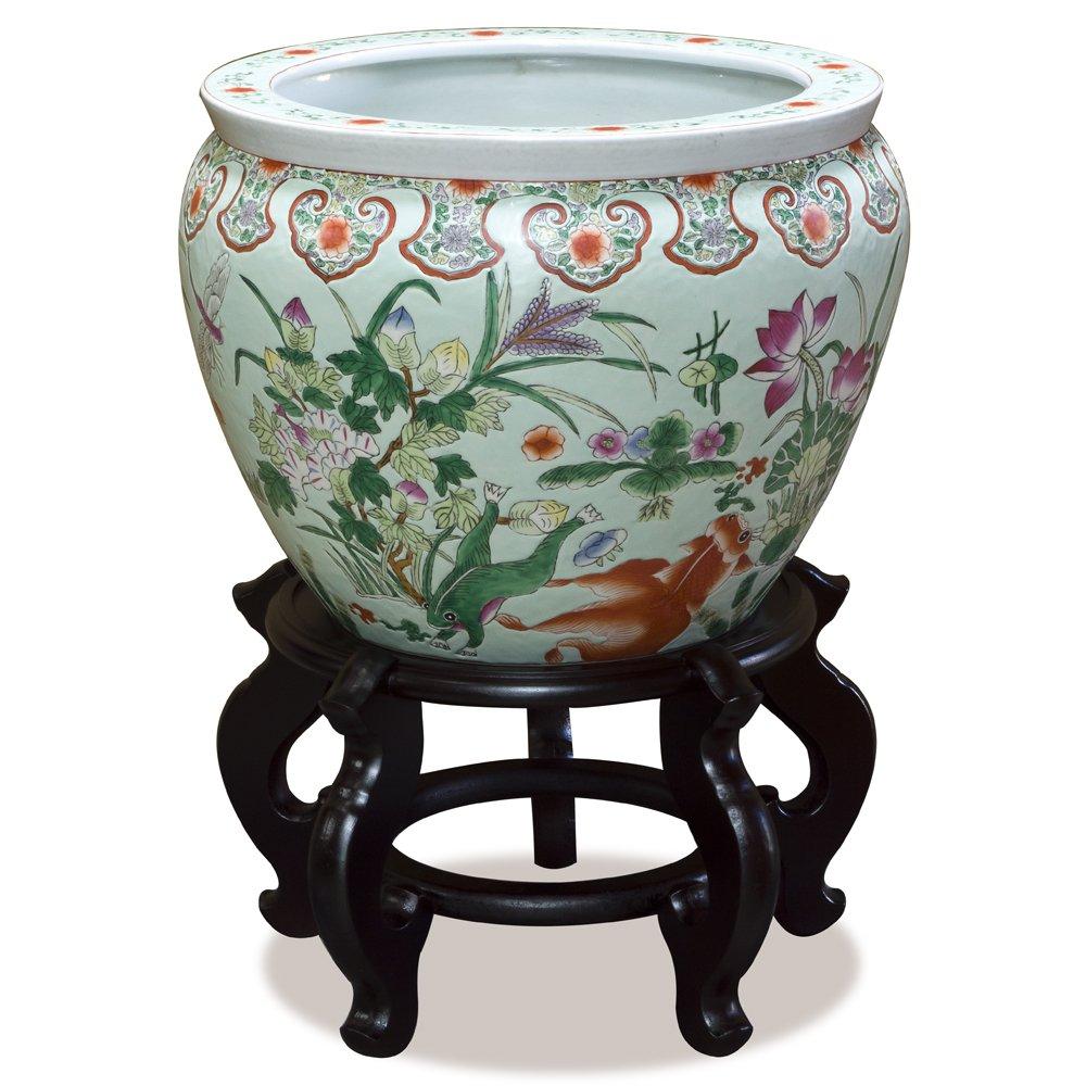 China Furniture Online 14in Porcelain Fishbowl Planter Flower Pot with Floral Motif