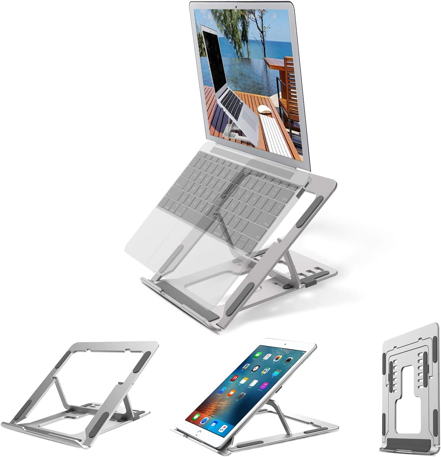 Tsuinz Fathers Day Gifts Laptop Stand Portable computer Stand for laptop Ergonomic MacBook Pro laptop riser for desk Foldable Aluminum alloy lap Holder for bed Compatible with Dell XPS,HP