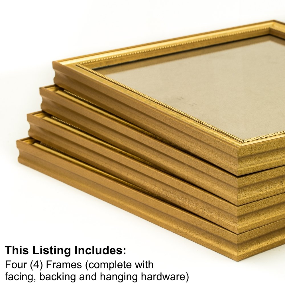 Craig Frames 314GD 24 by 36-Inch Picture Frame 4-Piece Set, Solid Wood, .80-Inch Wide, Beaded Gold Flake