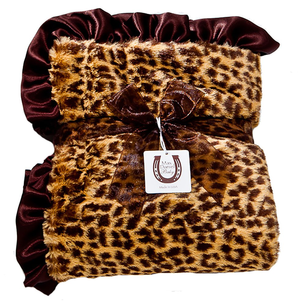 Max Daniel Child Cheetah Blanket - Double Sided - Satin Ruffle