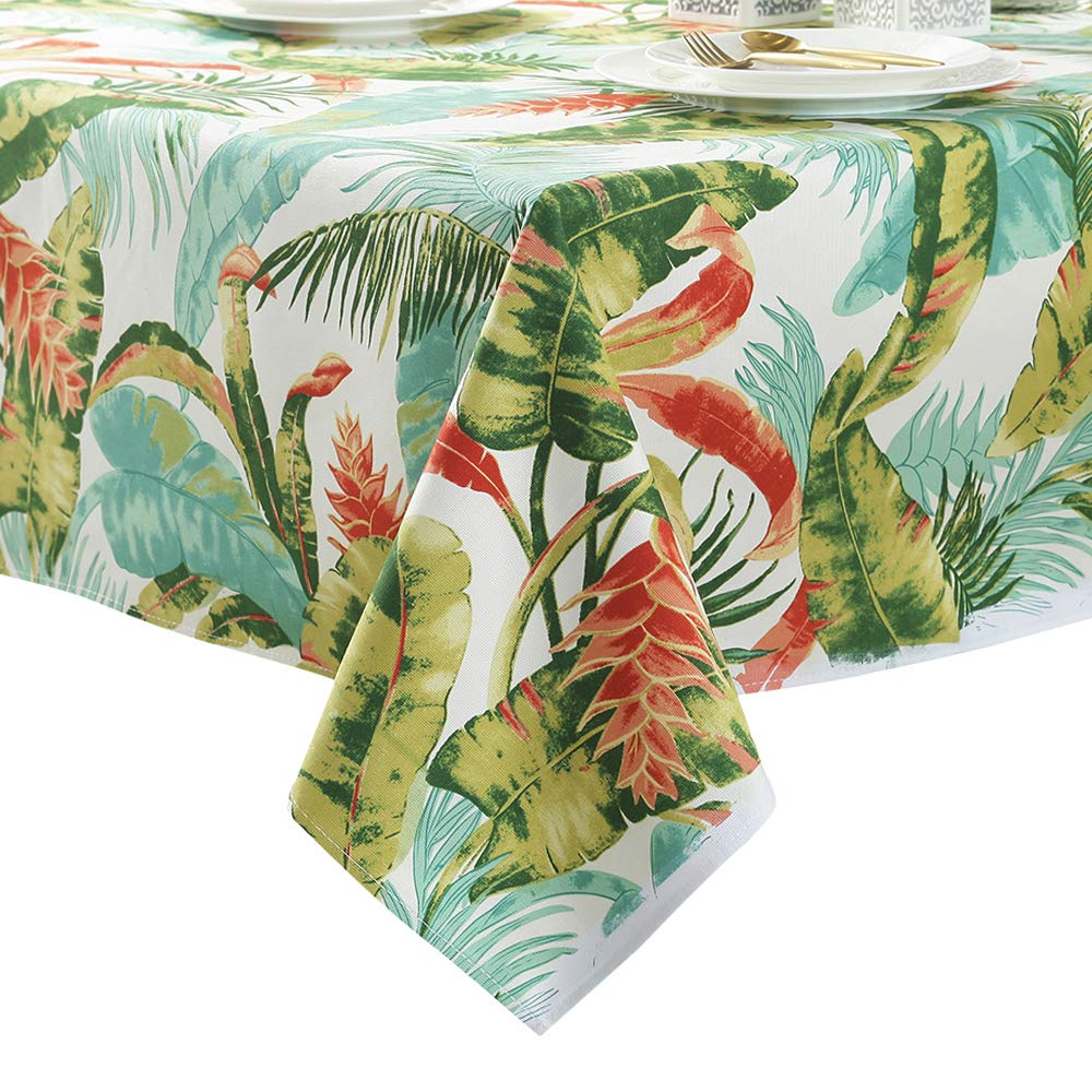 ColorBird Tropical Leaves Tablecloth Cotton Dust-proof Table Cover for Kitchen Dinning Tabletop Linen Decoration (Rectangle/Oblong, 55 x 78 Inch, Green/White)