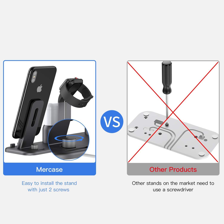 iPhone XS//X Max//XR//X Mercase Support de Charge iWatch Station de Recharge 3 en 1 pour iPhone Montre Apple et AirPod compatibles avec les AirPod,iWatch Series 4//3//2//1 Espace Gris