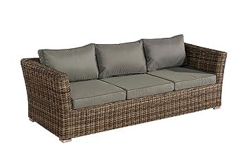 Mendler 3er Sofa 3 Sitzer Sousse Poly Rattan Grau Meliert Mit