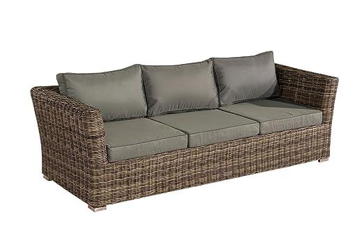 3 sofá de 3 plazas Sousse Polirratán ~ de color gris ...