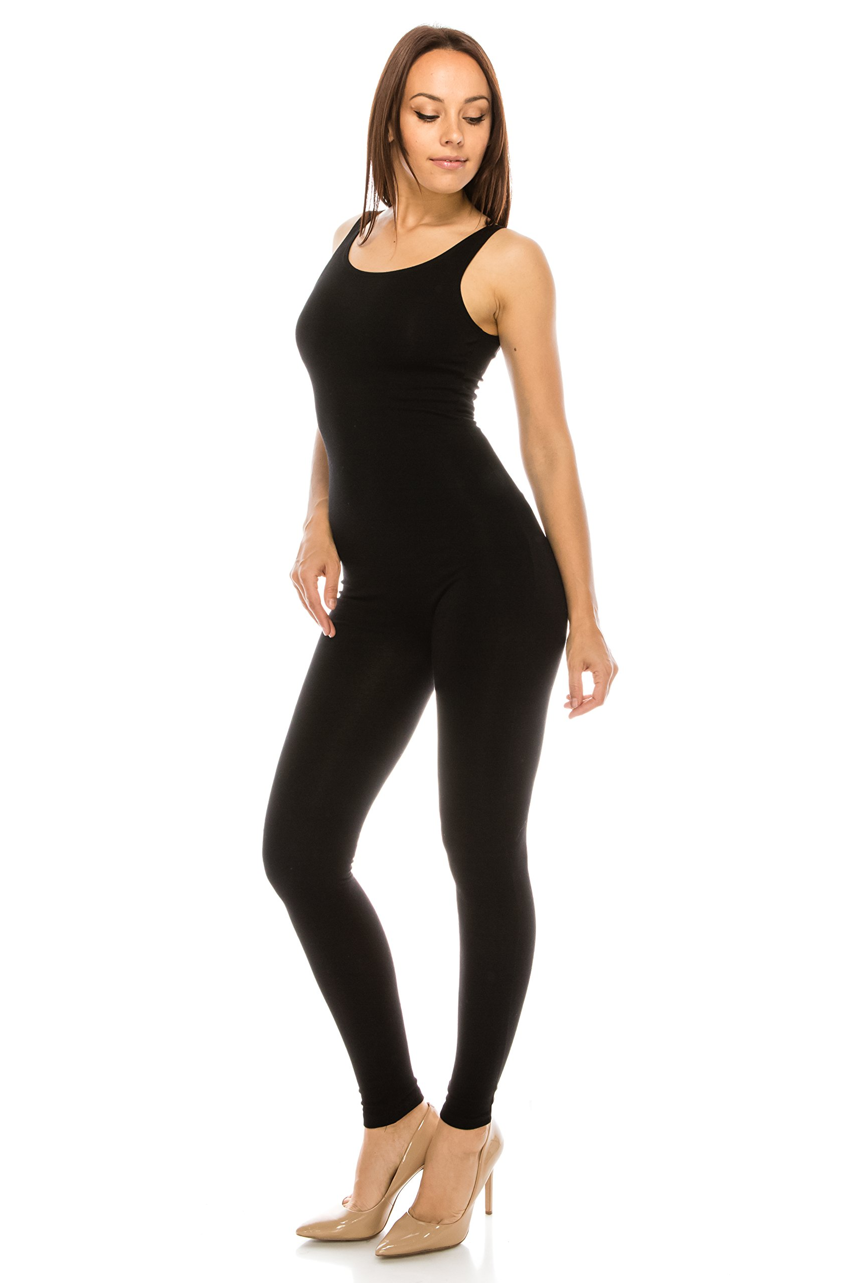 CNC STYLE Women Active Plus n Regular Size Stretch Yoga Sleeveless One Piece Unitard Bodysuit Jumpsuit Playsuit (1XL, Black)