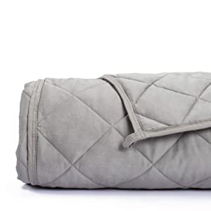 Simple Being Weighted Blanket, 60x80 15lb, Patented 9 Layers Design, Cooling Cotton, Adult Heavy Calming Blanket, Stone Grey