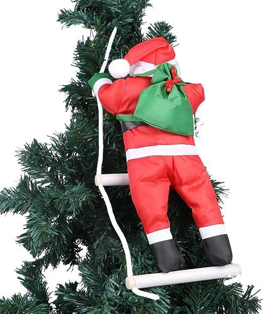 Un papá noel en escalera de cuerda de escalada para interior y exterior Árbol de Navidad ornamento colgante decoración Navidad Xmas Party Hogar Puerta Pared Decoración: Amazon.es: Hogar