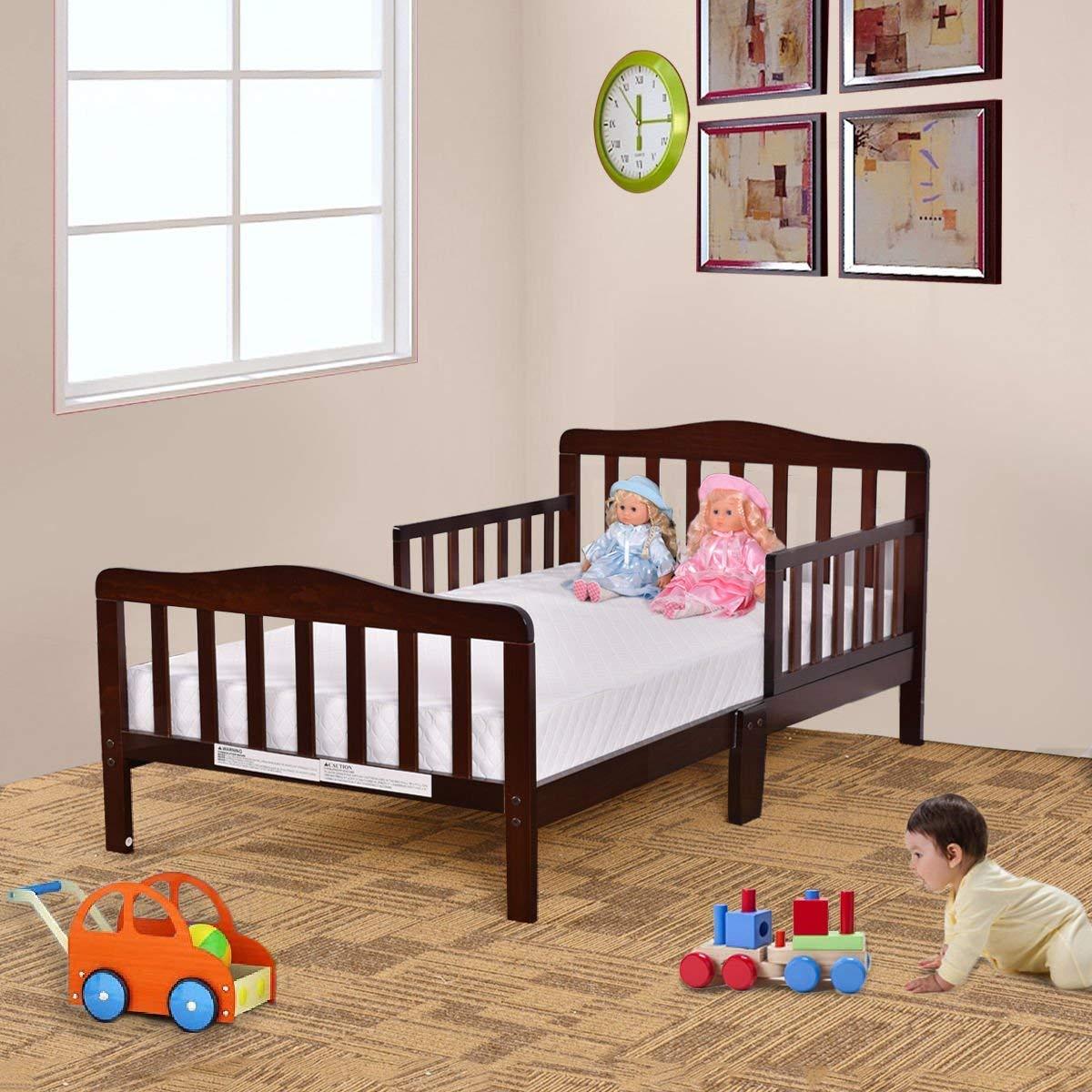 Amazon.com : HONEY JOY Toddler Bed, Wood Kids Bedframe Children ...