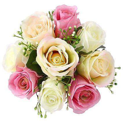Soledi® - Ramo de flores de seda de 9 rosas, ramo para casa,