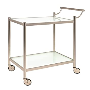 Servierwagen Glas servierwagen bzw rollwagen aus glas und stahl in silberfarben maße