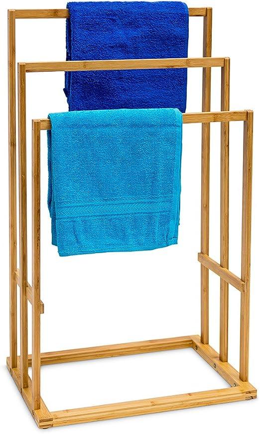 Relaxdays 10013085 Toallero de bambú, 3 Toallas, Natural, 40x24.5x82 cm: Amazon.es: Hogar