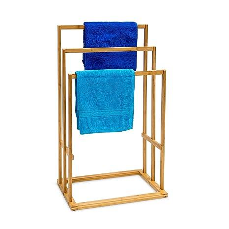 Relaxdays 10013085 Toallero de bambú, 3 Toallas, Natural, 40x24.5x82 cm